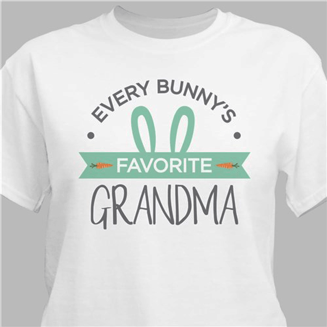 "Personalized Grandma's ""Every Bunny's Favorite"" T-Shirt for Easter (White)"