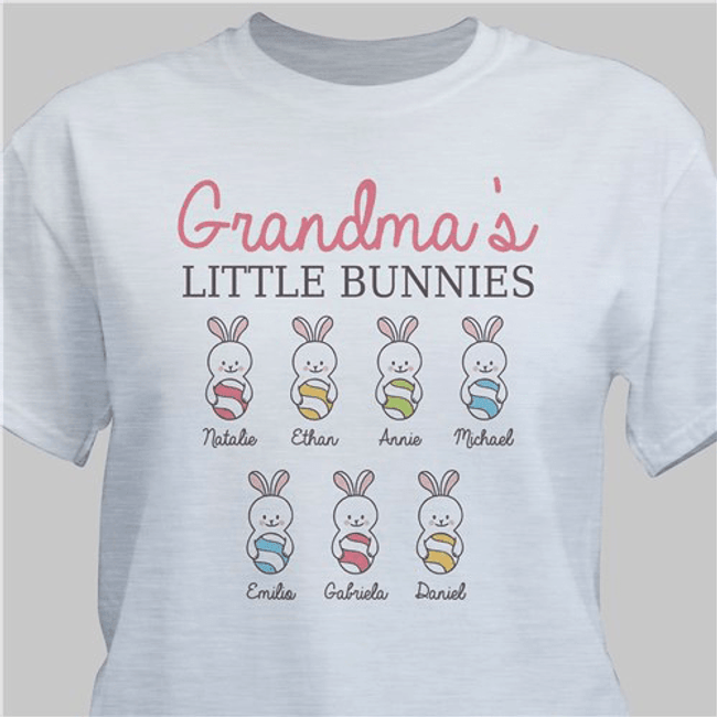 Personalized Easter t-shirt will show off Grandma's little bunnies with pride. (Gray)
