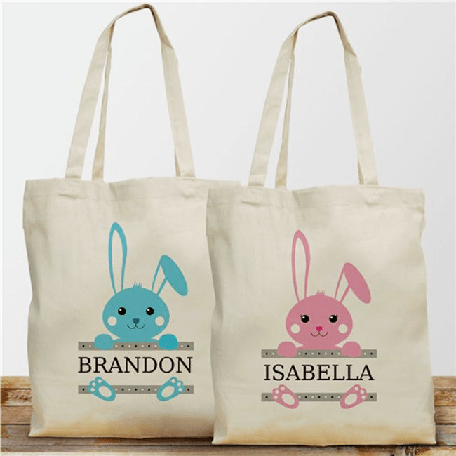 Adorable personalized canvas totes for Easter, perfect for that Easter Egg hunt, available with pink or blue bunny.