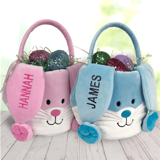 Personalized Easter basket in pink or blue.