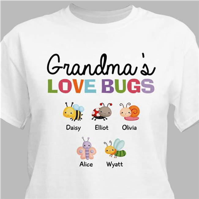 "Personalized T-Shirt ""Grandma's Love Bugs"" - White"