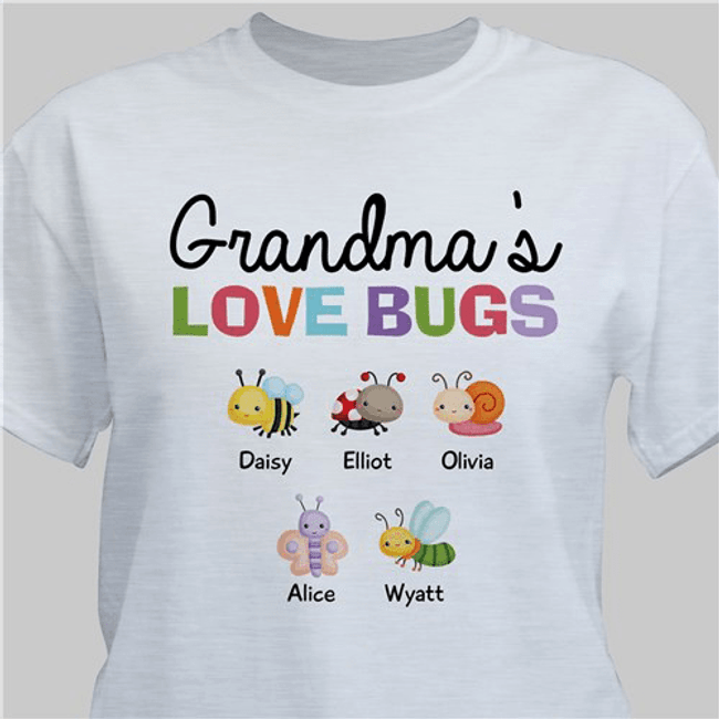 "Personalized T-Shirt ""Grandma's Love Bugs"" - Gray"