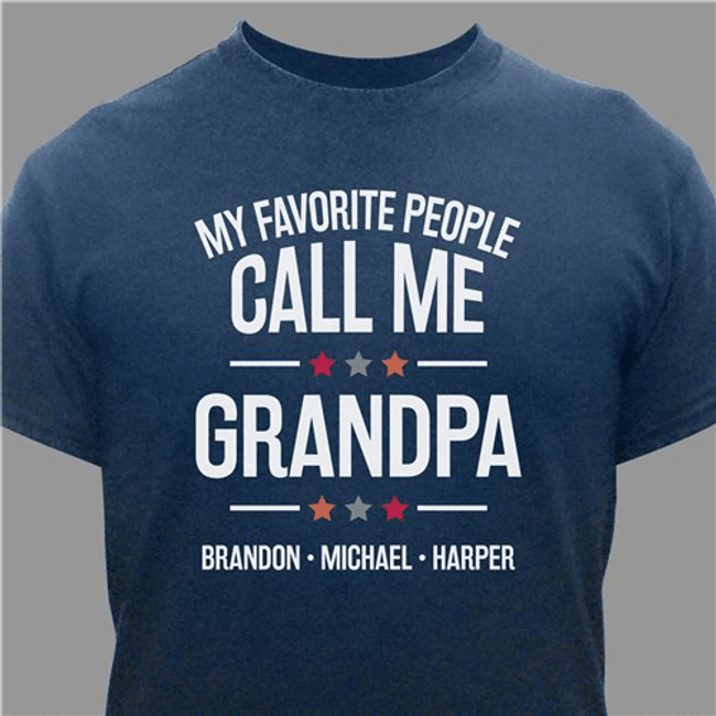 """Personalized T-Shirt for GrandPa """"My Favorite People"""" (Navy)"""