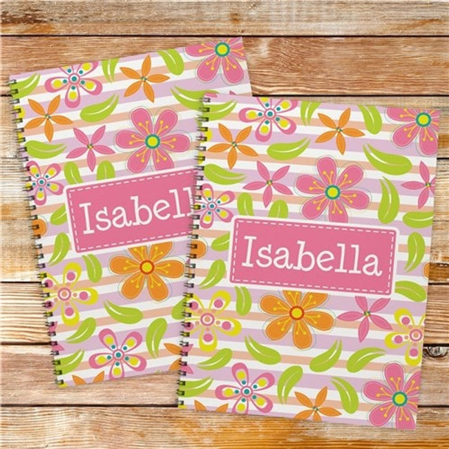Set of two floral notebooks will send your favorite girl off to school in style, personalized just for her.