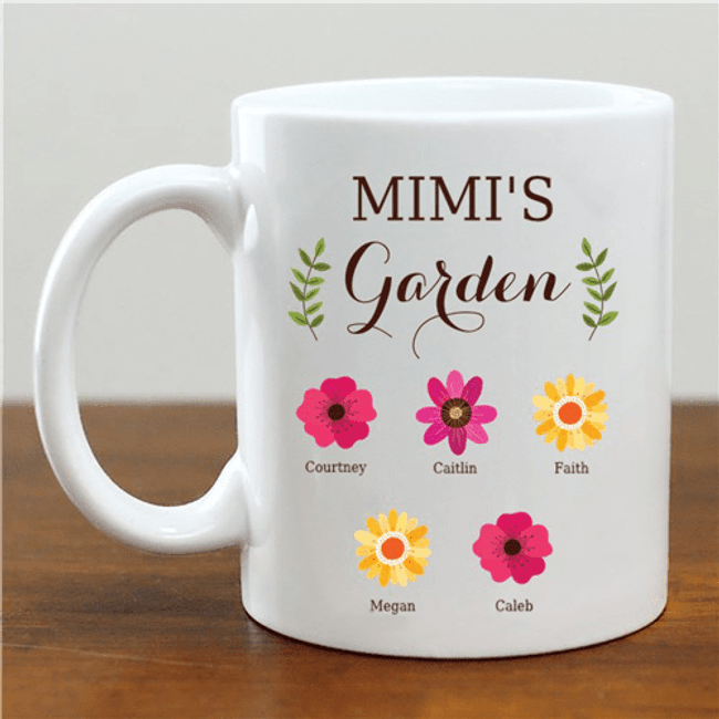 "Personalized ""Grandma's Garden"" Mug with Grandkid Names"