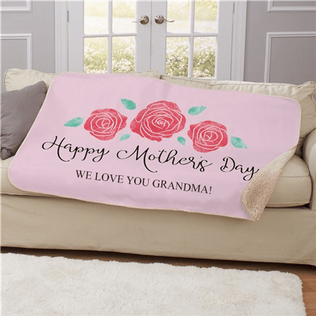 Personalized Rose Watercolor Sherpa for Grandma - Pink