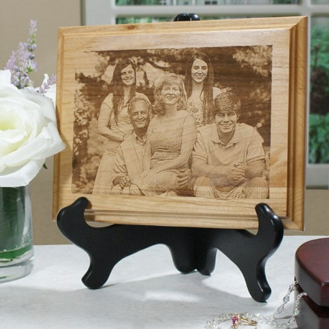 Handsome wood frame engraved with your favorite photo makes a keepsake gift for your special loved one.