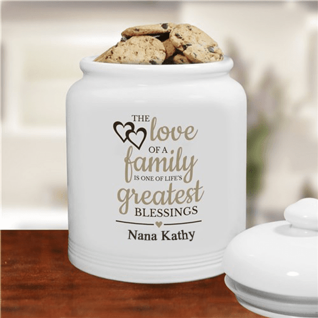 "Personalized ""The Love of Family"" Cookie Jar for Grandma"