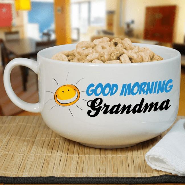 "Personalized ""Good Morning Grandma"" Bowl"