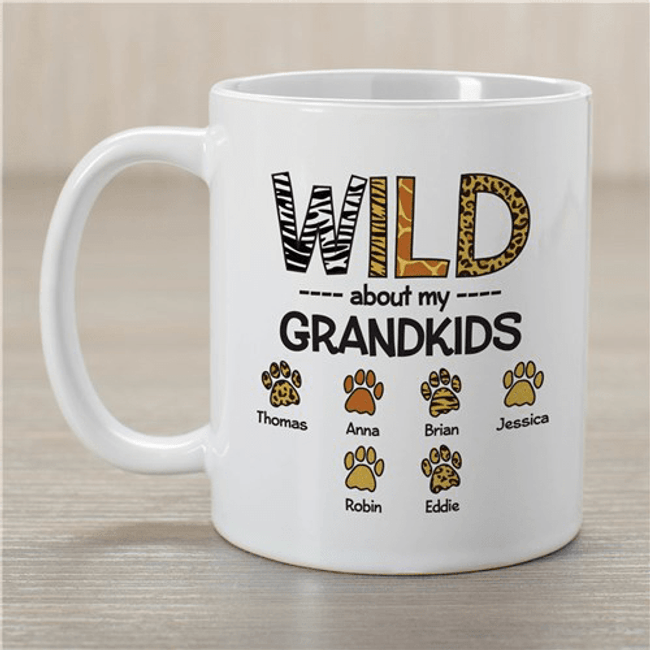 "Personalized Grandma Mug ""Wild About My Grandkids"""