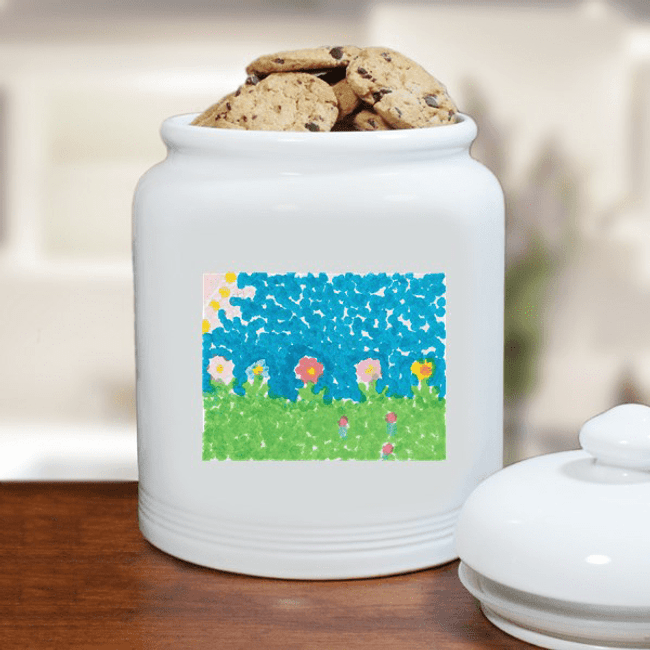 "Cookie Jar for Grandma with ""Grandkid Artwork"""