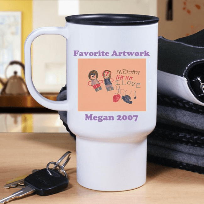 Grandkid Artwork Travel Mug for Grandma