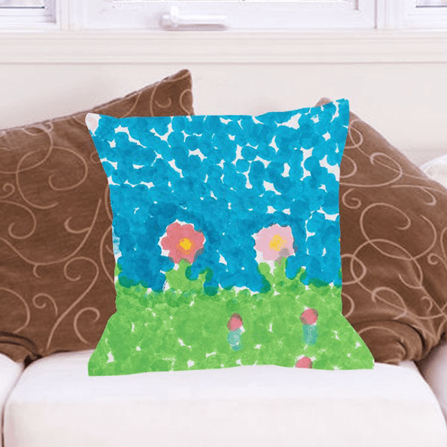 Grandkid Artwork Pillow for Grandma
