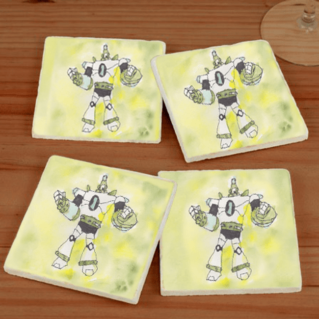 Grandkid Artwork Marble Coaster Set for Grandma