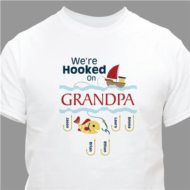 "Personalized ""Hooked On Grandpa"" T-Shirt White."