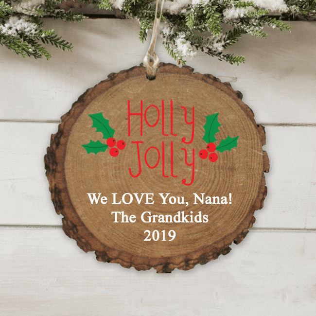 "Personalized ""Holly Jolly"" Ornament just for Grandma"