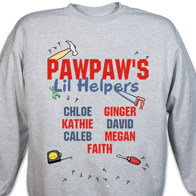 "Personalized ""Grandpa's Lil' Helpers"" Sweatshirt (Gray)"