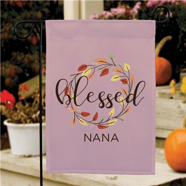 "Personalized ""Blessed"" Garden Flag for Grandma"