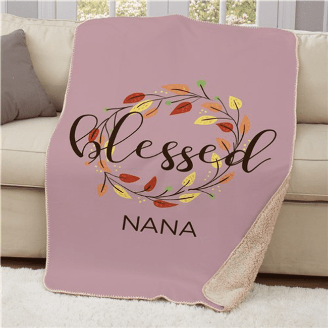 "Personalized Sherpa for a ""Blessed"" Grandma"