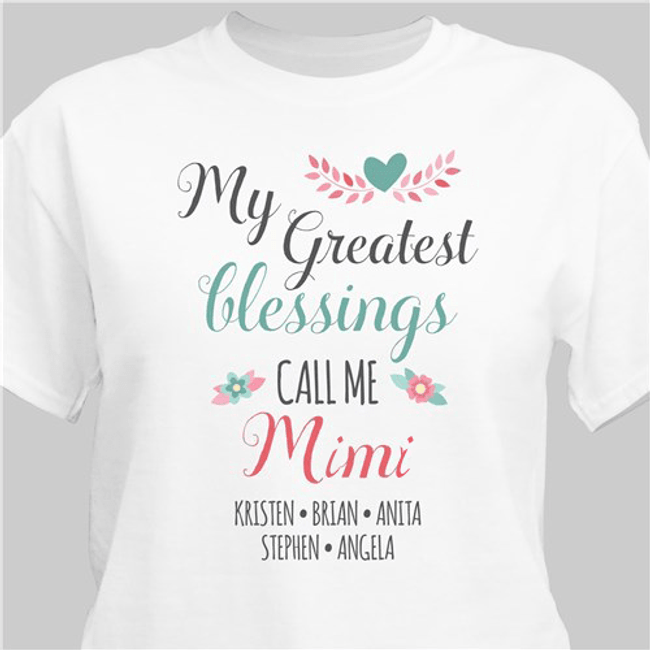 "Personalized for Grandma: ""My Greatest Blessings"" T-Shirt"