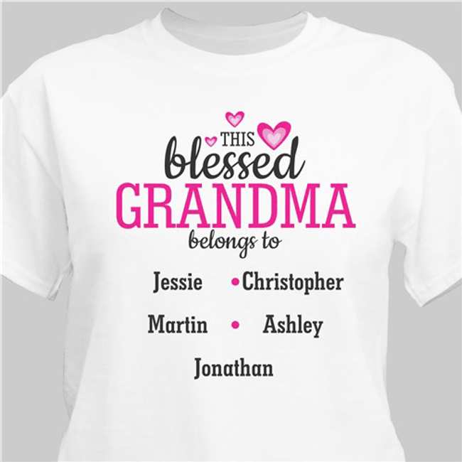 "Personalized ""This Blessed"" Grandma Belongs to T-Shirt (White)"