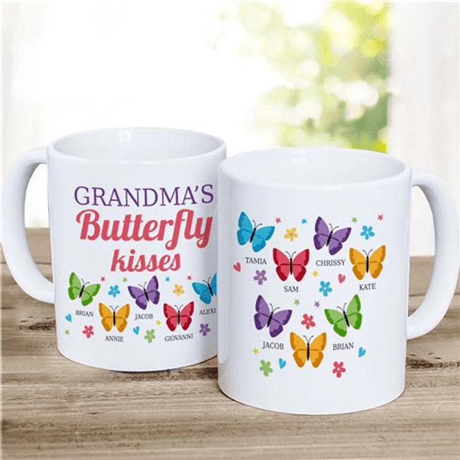 Butterfly Kisses Personalized Mug is special for Grandma.