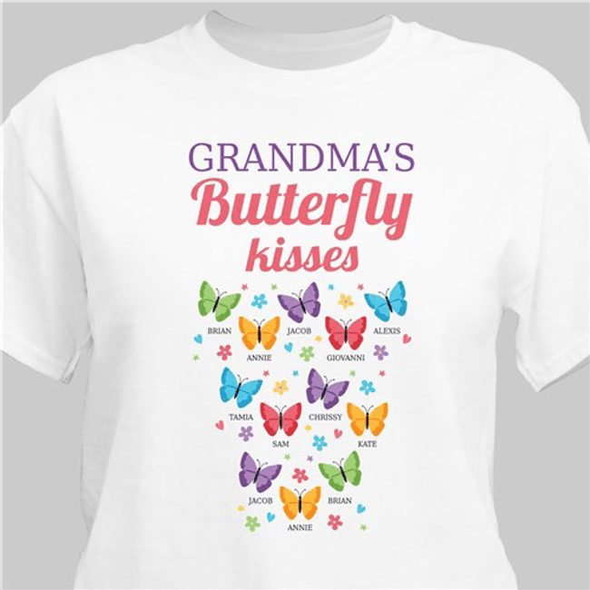 Personalized Butterfly Kisses T-Shirt...just for Grandma (White)