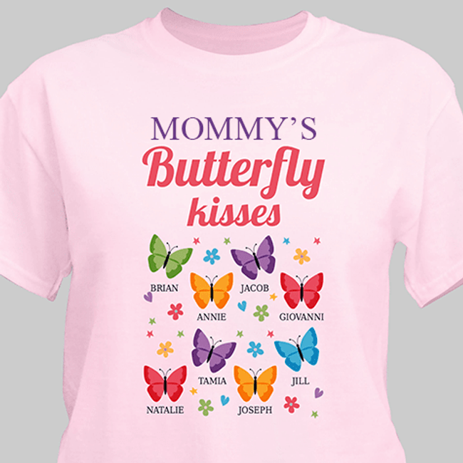 "Personalized T-Shirt ""Mom's Butterfly Kisses"" - Pink"