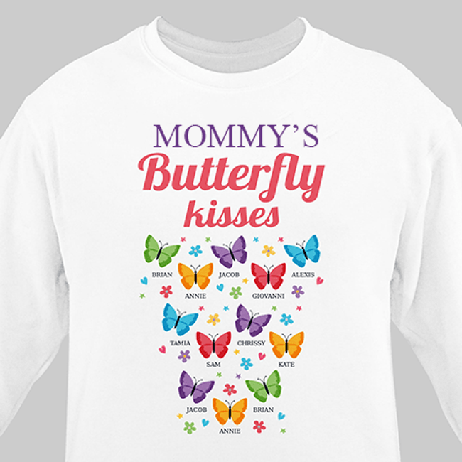 Personalized Sweatshirt for Mom's butterfly kisses (White)