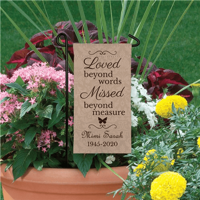 "Personalized ""Loved and Missed"" Mini Flag"