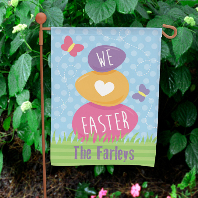 Pastel garden flag for Easter, We Love Easter personalized for any family.