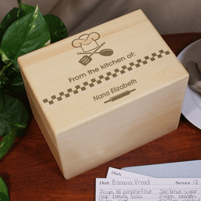 Personalized Wood Recipe Box for Grandma