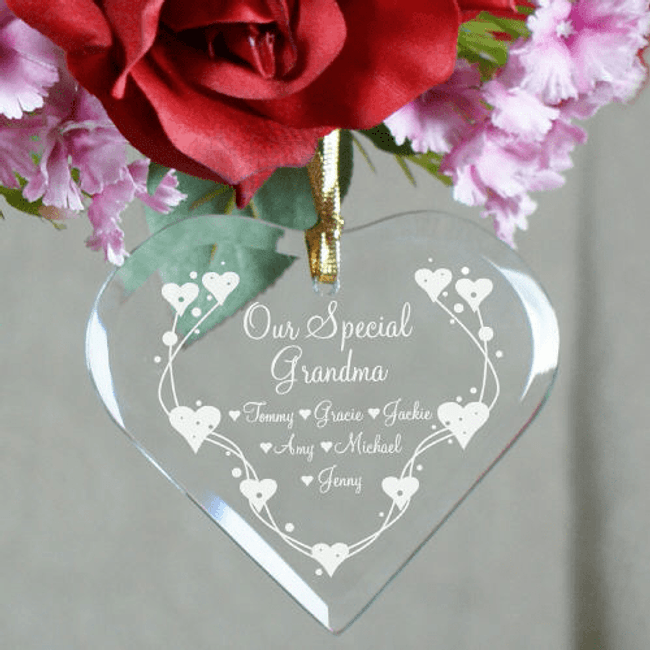 Personalized Heart-Shaped Glass Ornament
