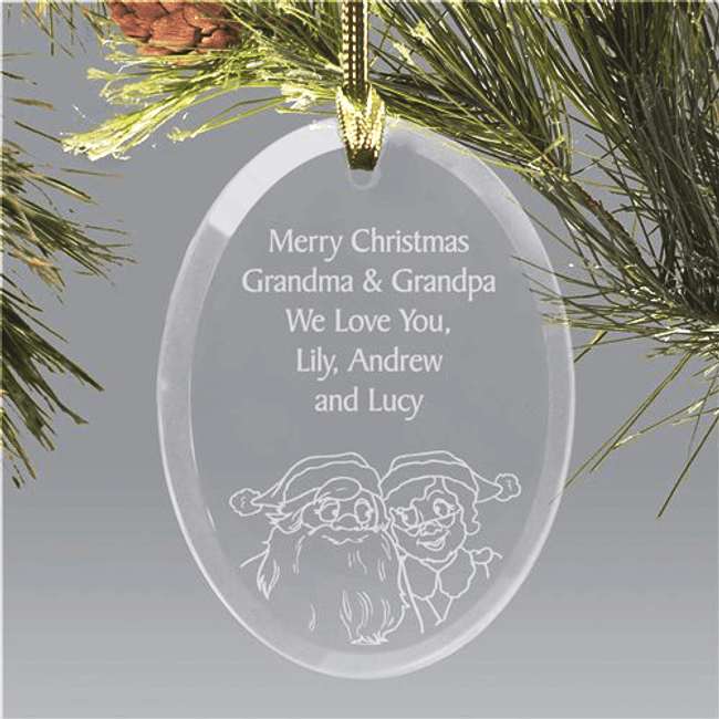 Personalized Santa and Mrs. Claus Glass Ornament