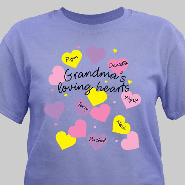 "Personalized T-Shirt...""Grandma's Loving Hearts"""