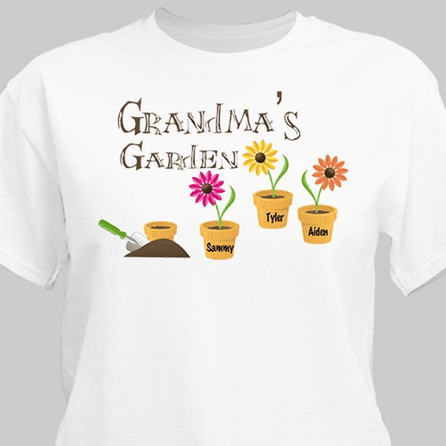 Grandma's Garden Personalized T-Shirt White