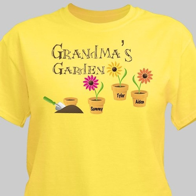 Mom's Garden Personalized T-Shirt in bright yellow.