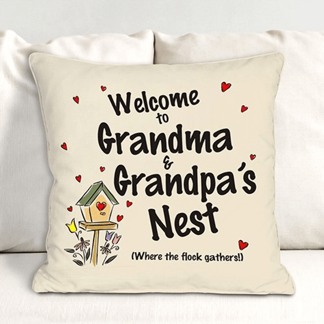 Personalized Throw Pillow for Grandma, Where the flock gathers