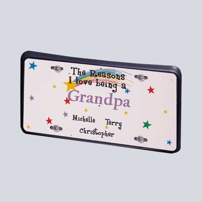 Personalized license plate for a proud grandpa.