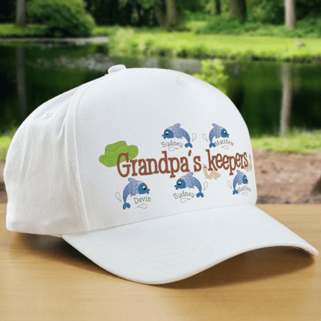 "GrandPa Hat Personalized With His ""Keepers"""
