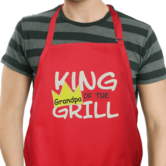 "Personalized Apron for ""King of the Grill"" - Red"