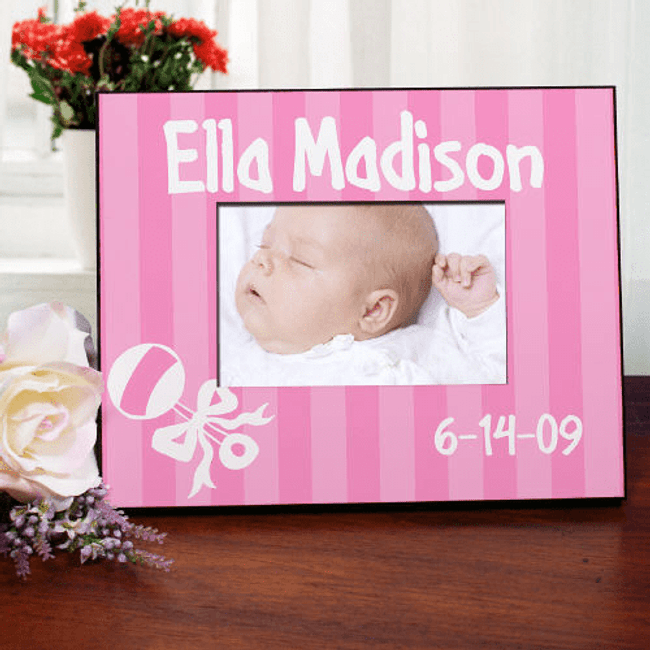 Personalized Frame, Pretty in Pink Stripes for Your New Baby Girl