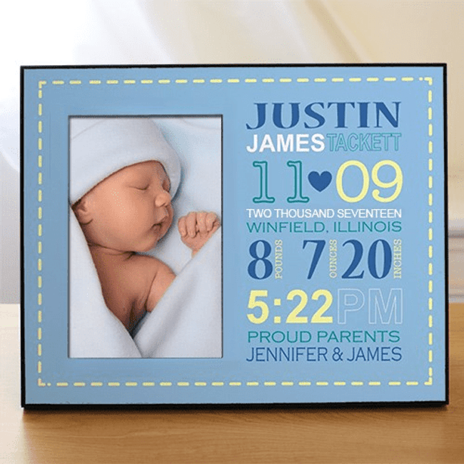 Personalized Birth Announcement Frame for Baby Boy