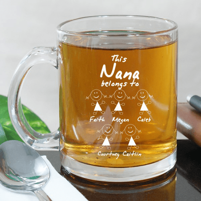 Personalized Engraved Glass Mug - This Grandma Belongs To