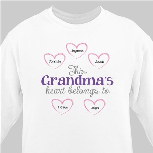 Sweatshirt, This Grandma's Heart Belongs To ... (White)