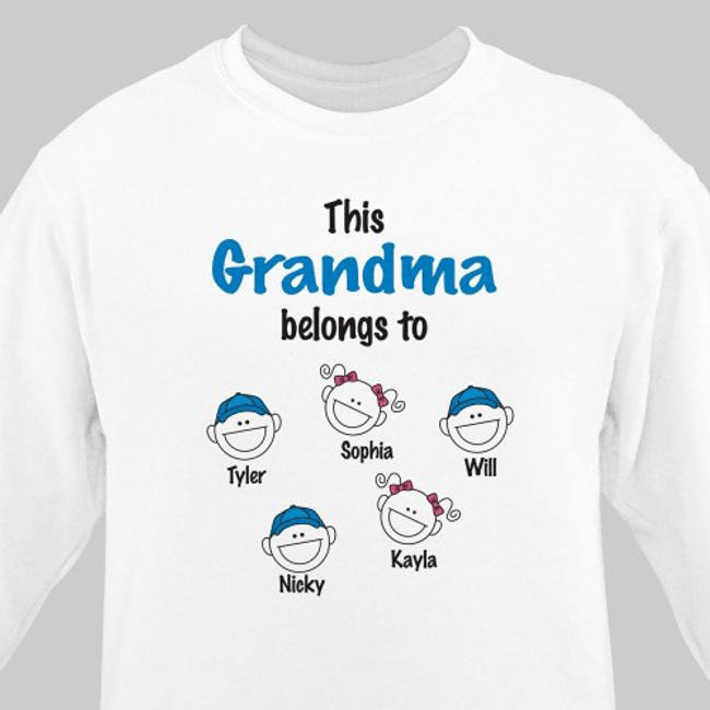 Super Cute Sweatshirt, This Grandma Belongs To .... (White)