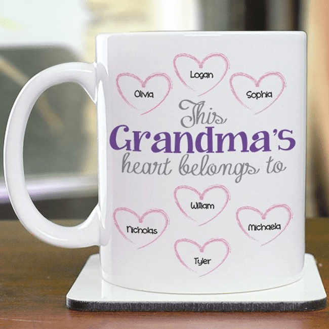 Personalized Mug, This Grandma's Heart Belongs To ...
