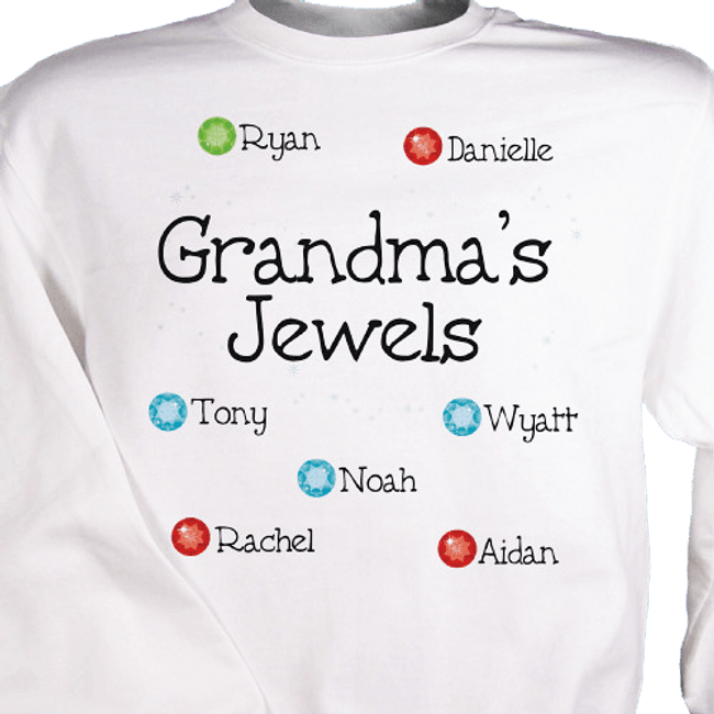 Personalized Sweatshirt - Grandma's Jewels displays grandkids and their birthstones!
