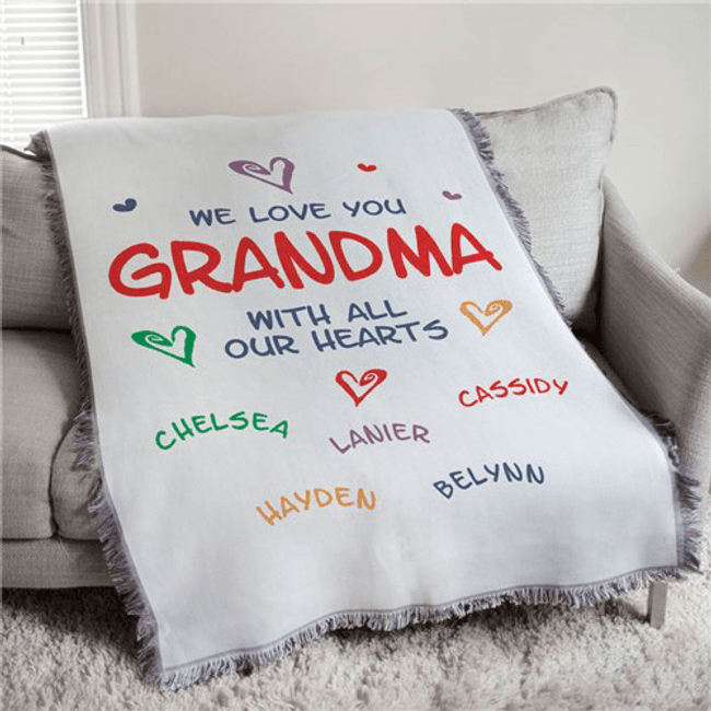 Personalized Grandma Tapestry/Throw Blanket, We Love You ...