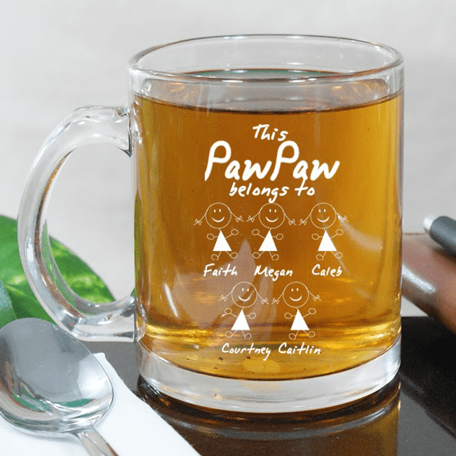 Personalized Engraved Glass Mug - This Grandpa Belongs To
